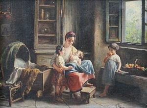 MAGNI, Giuseppe, (Italian, 1869-1956): Interior Family Scene with Mother and Three daughters by an Open Window